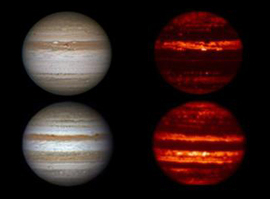 Atmospheric zones and glowing belts in Jupiter's atmosphere